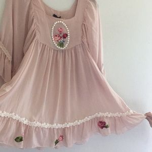 Luna Zara Blush pink tunic roses vintage chiffon